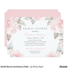 Bridal Shower Invitations   Pink Watercolor Roses Elegant and romantic wedding bridal shower invitation design features custom blush and pewter gray event information framed by a border of soft pink roses with green / gray leaves. Flowers have a beautiful watercolor painted appearance.