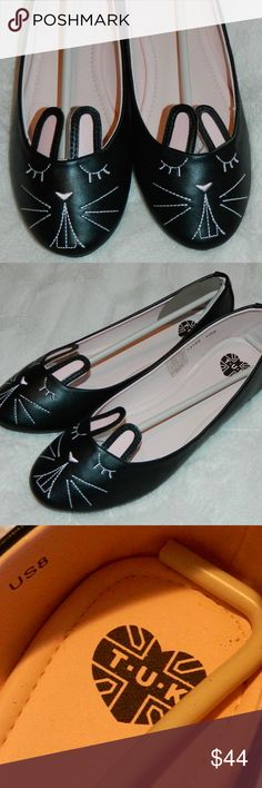 New TUK Ballet FLATS Bunny Cat BLACK Sz. 8 NEW without box!! TUK Shoes Flats & Loafers
