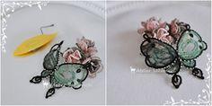 タティング 毛糸の蝶のモチーフ 完成。の画像:タティングレース便り ~アトリエ さかみち~