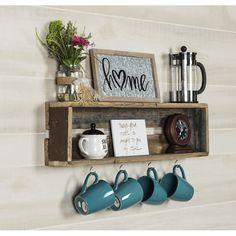 Wall shelf for DIY coffee cup – Style Of Coffee Bar In Kitchen Coffee Bars In Kitchen, Coffee Bar Home, Coffee Nook, Coffee Cups, Diy Coffee Shelf, Coffee Cup Holders, Coffee Corner, Display Shelves, Bar Shelves