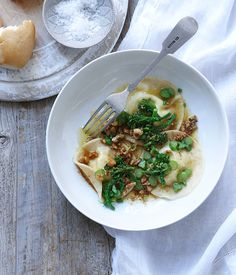 Goat's cheese ravioli with broccolini and salsa di noci recipe |Gourmet Traveller #recipe #pasta