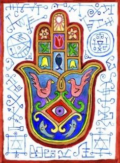 There is good archaeological evidence to suggest that the downward-pointing protective hamesh / hamsa hand predates both Judaism and Islam and refers to an ancient Middle Eastern goddess whose hand wards off the evil eye.