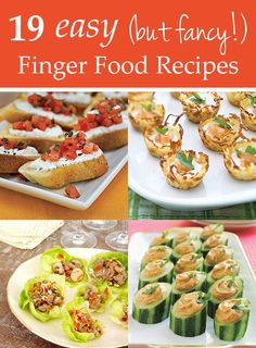 19 easy  finger food recipes.---- ooo yum cucumber and humus...
