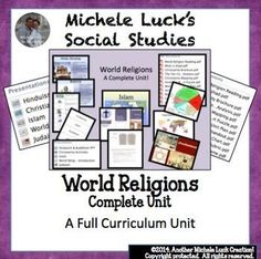 UPDATED!!!   This is a unit designed for use in any Social Studies or ELA classroom course on the 5 major world religions.  Includes:Unit plan with 7 days of outlined plansPowerpoints on each of the religions with links to video segmentsImage Analysis act
