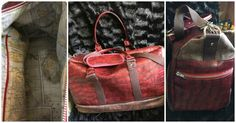 Sac Boston cousu par Fabienne en simili turtle rouge et simili vieilli - Patron Sacôtin