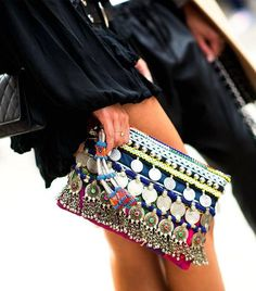 Whether you're hoping to invest in a staple clutch you'll carry for summers to come, or simply want to add another bright bag to your accessories repertoire, let today's roundup be y Fashion Bags, Boho Fashion, Fashion Accessories, Women Accessories, Style Fashion, Boho Chic, Gypsy Chic, Ethno Style, Hippy Style