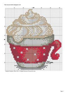 JRosa világa: Hot chocolate cross stitch pattern - Forró csoki keresztszemes minta
