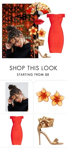 """""""China lights"""" by jojohanakana on Polyvore featuring ASOS, Dsquared2, Hervé Léger, Gianvito Rossi, red and romantic"""
