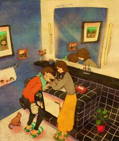 Love Is In The Small Things: New Illustrations By Korean Artist Puuung Pics) Illustration Photo, Couple Illustration, Illustrations, Anime Couples, Cute Couples, Puuung Love Is, Two Worlds, Korean Artist, Couple Art