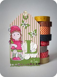 Little girl Christmas scrapbooking tag // Tag de Noël pour petite fille // See more at / Voir plus sur : http://scrap-ines.over-blog.com/article-tags-magnolia-taguee-et-blog-candy-chez-sabrina-99184389.html