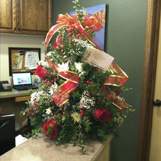 More beautiful holiday flowers at work! Looks like a tree...