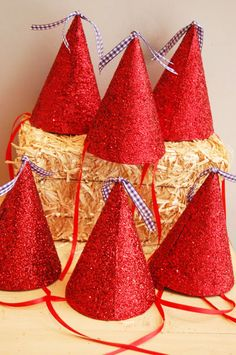 Wizard of Oz Red Glittered Party Hats