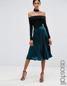 ASOS Tall | Плиссированная бархатная юбка миди ASOS TALL