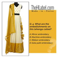 #QuizTime  Can you answer this?  #TheHLabelQuiz Ribbon Embroidery, Machine Embroidery, Lehenga