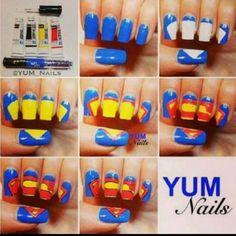 Cute DIY Superman nails-If only I was that talented. Nail Art Diy, Diy Nails, Cute Nails, Pretty Nails, Manicure, Superman Nails, Superhero Nails, Batman, Superman Superman