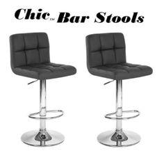 Chic Modern Adjustable Swivel Bar Stools - Black - Set of 2 by furnishingo