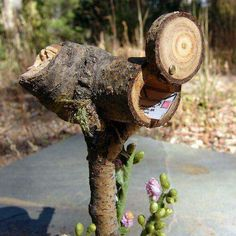 Wooden mailbox! Ingenious!