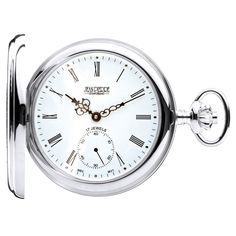 Jean Pierre Of Switzerland Sterling Silver Half Hunter Hand Driven Mechanical Pocket Watch. Now available at www.pocketwatch.co.uk #pocketwatch #timepiece