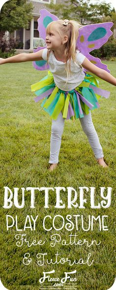 I love this easy to sew butterfly costume tutorial. It works for Halloween or dress up. I like how it comes with a nice pdf patterns too. Great DIY little girl Halloween costume idea.