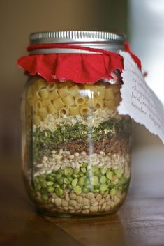Recipe For Country Soup in a Jar - In a wide mouth 1 quart jar, layer the barley, peas, rice and lentils. Then layer around the edges the onion, parsley, salt, lemon pepper, bouillon and the alphabet pasta. Fill the rest of the jar with the twist …
