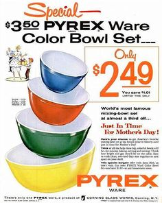 Pyrex! I spent years collecting to find the best of these, and I now have a beautiful set. I've seen people charging as much as $95-$150 for a set! Crazy!