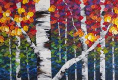 """""""Not An Ordinary Day"""" 48""""x30"""" Acrylic Fall Tree Painting on Canvas. MELISSA MCKINNON Contemporary Abstract Landscape Artist features BIG COLOURFUL PAINTINGS of Aspen & Birch Trees, Rocky Mountains and stunning views of the Canadian prairies, big skies and ocean beaches. Western Art available for sale. (Detail Image of colourful red, orange and yellow leaves, tree trunk and impasto paint texture) Detail Image"""