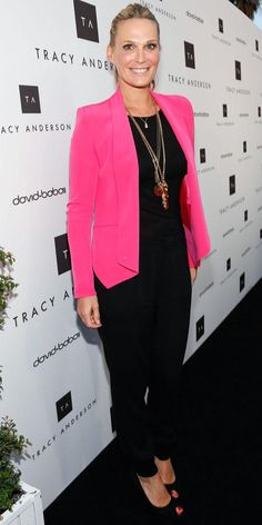 Molly Sims brightened her ensemble with a vibrant blazer