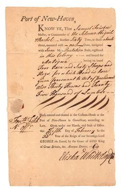 """One page, 7 x 12 New Haven. February The document reads, in part: """" …. on Feb 2009 Customs House, February 5, First Page, Saga, Prints, Life, Antigua"""