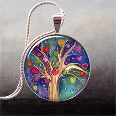 Tree of Hearts art pendant charm, tree necklace resin pendant, love, romance, Valentine gift on Etsy, $9.25