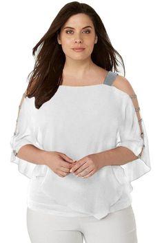 Ladies White Rhinestone Embellished Plus Size Top