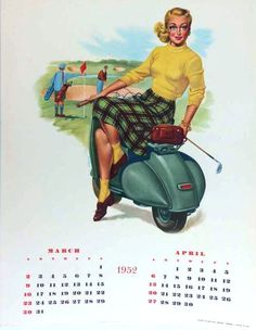 1952 Vespa calendar in english (mar-apr) with golfer pin-up by F. Mosca