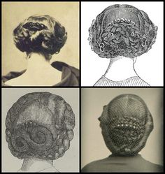 Mid Victorian back combs for everyday wear from printed and photographic sources.