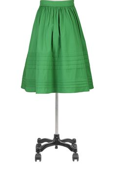 eShakti poplin skirt!  {solid color gathered A line - the detailed of the folded over fabric is nice - looks easy!}  Original $52 - good price for all that pin tuck work!