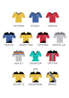 Star Trek Uniform Cross Stitch