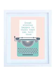 Retro Typewriter Illustration, 8x10 Print in Pink & Teal. $20.00, via Etsy.