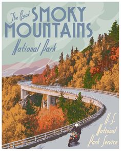 Great Smoky Mountains National Park Poster Vintage Smokey | Etsy Mountain Park, Smoky Mountain National Park, Vintage Travel Posters, Poster Vintage, Most Visited National Parks, National Park Posters, Park Art, Great Smoky Mountains, Rocky Mountains