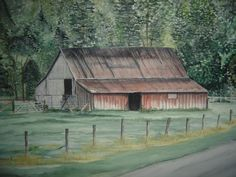 """Watercolor 22""""x 30""""Barn; Valle Crusis, NC."""