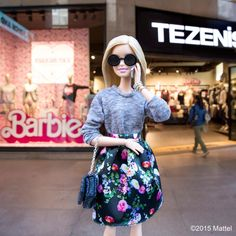 "Barbie® no Instagram: ""Love seeing my collaborations come to life around the world! So fun to visit the new @tezenisofficial flagship store in Milan!  #barbielovestezenis #mfw #barbie #barbiestyle"""