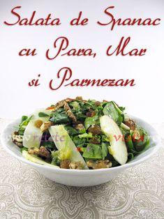 Reteta salata de spanac cu para, mar si parmezan - poza 1 Parmezan, Healthy Salad Recipes, Sprouts, Potato Salad, Food And Drink, Healthy Eating, Potatoes, Vegetables, Ethnic Recipes