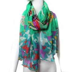 Scarfand's Flying Butterflys with Rose Scarf (Green) Scarfand. $15.00