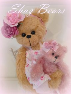 mohair bears  sitting in chair shabby chic 36cm with by shazbears, $195.00