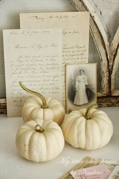 Fall Vignette with Baby Boos, Vintage Letters and a Cabinet Card Harvest Time, Fall Harvest, Fall Vignettes, White Pumpkins, Shades Of White, White Houses, Little White, Autumn Home, Autumn Inspiration