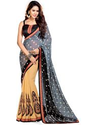 Grey and Black Faux Georgette and Faux Chiffon Saree with Blouse