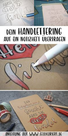 DIY: Notebook with lettering - yellow checkered - Transfer lettering to a notebook; DIY instructions for hand lettering on kraft paper with fineliner - Lettering Brush, Doodle Lettering, Creative Lettering, Lettering Design, Lettering Tattoo, Diy Cahier, Karten Diy, Diy Notebook, Damier