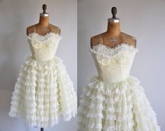 Adorable vintage 1950s buttercup yellow chiffon and lace party dress
