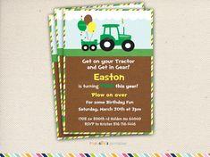 Tractor Birthday Invitation Tractor Invite Farmer Invitation - John deere 2nd birthday party invitations