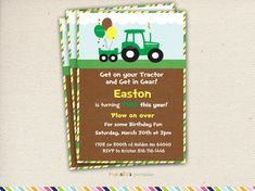 Green Tractor Birthday Party Invite and Thank you Cards- Printable Invitations John Deere Party via Etsy