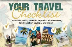 Check out these great, time-sensitive specials. Be sure to check the ending date, as it varies by offer - some out through April others only through February Act quickly! Cruise Specials, Vacation Savings, Cruise Planners, Travel Checklist, All Inclusive Resorts, Weekly Planner, Travel Deals, Airplane, 30th