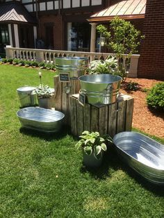 Outdoor wedding drink station for the cocktail party / http://www.deerpearlflowers.com/rustic-buckets-tubs-wedding-ideas/