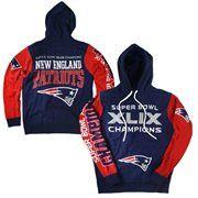 New England Patriots Super Bowl XLIX Champions Knit Pullover Hoodie - Navy Blue